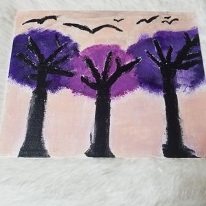 Nwot Gorgeous purple trees canvas painting 8×10